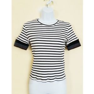 ZARA WOMAN BLACK WHITE STRIPES TOP SIZE S